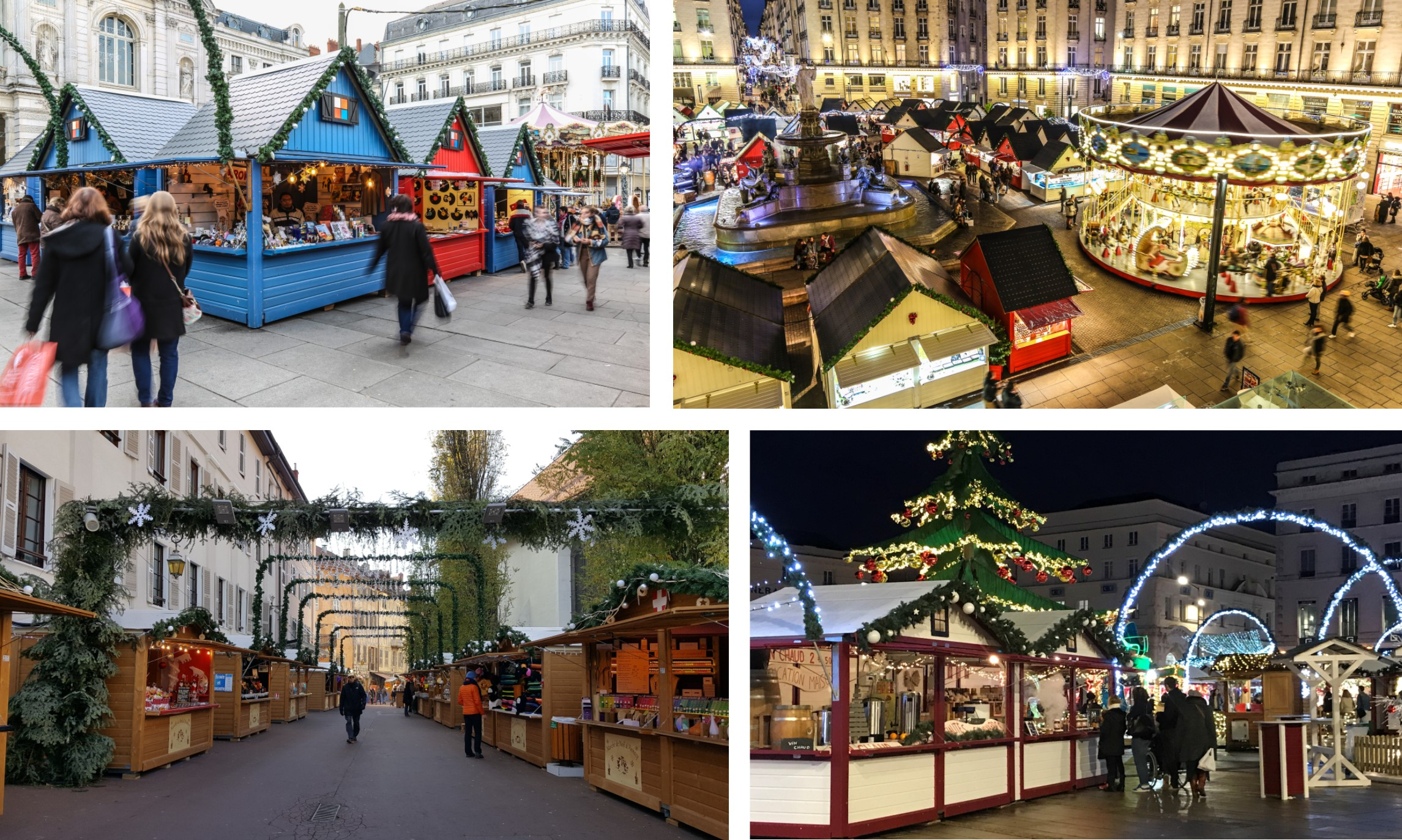Vue de plusieurs marchés de Noël et leurs chalets