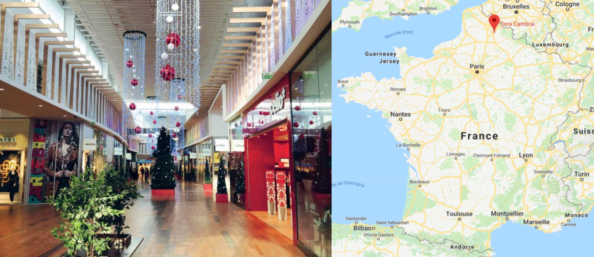 Centre commercial Cora Cambrai décoré pour Noël