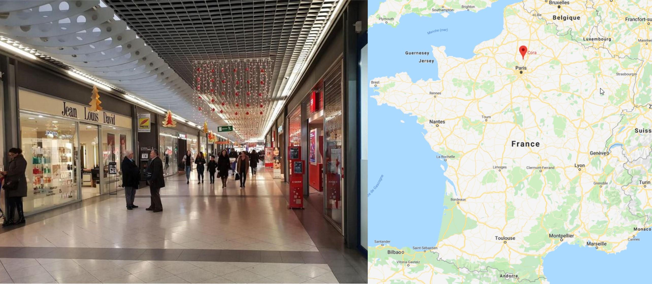 Galerie commerciale du Cora Saint Maximin à Creil décorée pour Noël
